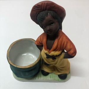 African American Boy And Match Or Toothpick Holder